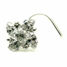 Dazzling Piercing Cork Screw Nose Stud White CZ Sterling Silver Nose Ring L Bend