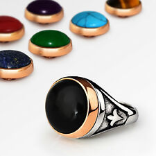 NEW Mens Ring Interchangeable Multi-Gemstone in 925 Sterling Silver Set all sz