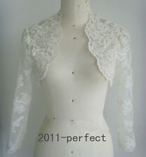 Elegant Lace White Ivory Wedding Jacket Shiny Beaded Bridal Wrap Bolero Custom