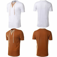New Mens V Neck T Shirt Cotton Muscle Fit Top Short Sleeve Plain Tee Summer