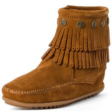 Minnetonka Double Fringe Size Zip Womens Ankle Boots Chestnut New Shoes