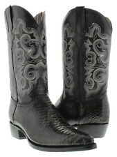 Mens Black Python Snake Exotic Western Cowboy Boots Biker Rodeo Leather