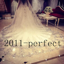 3M Bling Wedding Veil Crystal Cathedral Applique Bridal Veil White Ivory Comb