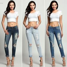 Fashion Women Skinny Casual Low Waist Holes Jeans Sexy Slim Pencil Cotton Pants