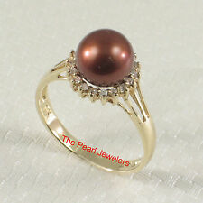 14k Solid Yellow Gold 8mm Chocolate Cultured Pearl; Diamonds Cocktail Ring TPJ
