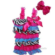 Baby Hot Pink Blue Zebra Rosettes Petti Lace Rompers & Bow Headband