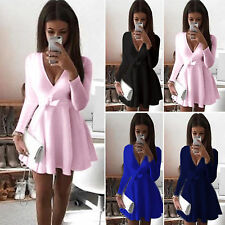 Sexy Women Long Sleeve V Neck Skirt Ladies Evening Party Short Mini Skater Dress