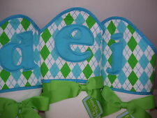 "Mud Pie Initial Baby Blue and Green Hooded Towel, Initial ""D"" or ""E"", NWT"
