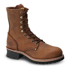 "Mens Brown 9"" Logger Oiled Leather WP Work Boots BONANZA 901 Size 5-12 (D, M)"