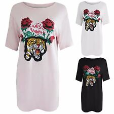 NEW LADIES TIGER ROSE PRINT T-SHIRT MINI DRESS WOMENS TUNIC SUMMER TOP FESTIVAL