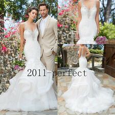 Spaghetti Strap Wedding Dress Backless Lace Applique Mermaid Beaded Bridal Gowns