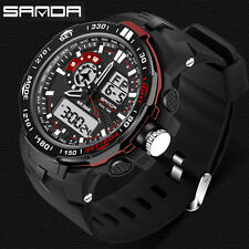 US Mens Sport LCD Analog Digital Alarm Date Day Quartz Wrist Watch Waterproof