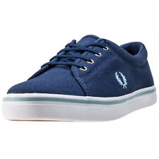 Fred Perry Aubyn Womens Blue Canvas Casual Trainers Lace-up Genuine Shoes