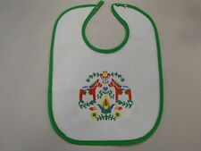 Scandinavian Swedish Dala Horses & Flowers Embroidered Baby Bib B432