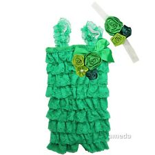Baby Green Lime Lace Rosettes Petti Rompers & Flower Headband