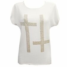 NEW WOMENS STUD CROSS SYMBOL TOP LADIES KNIT GOTHIC SHORT SLEEVED TOPS T-SHIRT