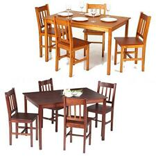 5PCS Modern Dining Table And 4 Chair Pine Wood Dining Set Kitchen Furniture C3M9