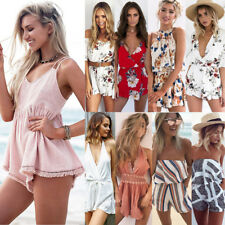 Womens Holiday Mini Playsuit Ladies Jumpsuit Romper Summer Beach Dress Size S-XL