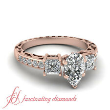 Vintage Style Rose Gold Engagement Ring Pave Set With Pear Shape Diamond 1.75 Ct