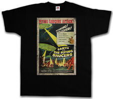 EARTH VS. Flying SAUCERS I T-SHIRT - Retro UFO Flying Saucer Sci-Fi Movie