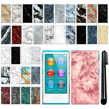 For Apple iPod Nano 7 7th Generation Marble Design HARD Back Case Cover + Pen