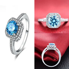 Hot Fashion Womens Jewelry Wedding rings Crystal Blue Diamond Engagement Ring
