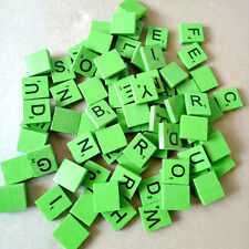100 WOODEN SCRABBLE TILES BLACK LETTERS NUMBERS CRAFTS WOOD ALPHABETS kids Gift