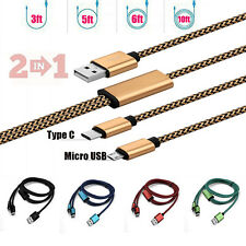 1/1.5/2/3M Braided Type C&Micro USB 2in1 Charger Sync Data Cable For Android Lot