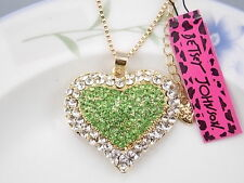 Betsey Johnson Fashion Jewelry inlay green Crystal Heart Pendant Necklace #H168L