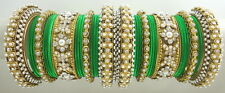 PARROT GREEN CZ PEARL GOLD TONE TRADITIONAL BOLLYWOOD BANGLE SET CHURI JEWELRY