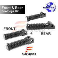 Front & Rear Kit Set Black CNC Pole Footpegs For Yamaha FZR 1000 87-96
