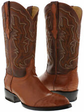 mens rust cognac brown real ostrich skin leather cowboy boots wing tip 3 piece j