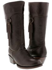 Womens Smooth Brown Leather Fashion Western Cowboy Cowgirl Boots Rodeo