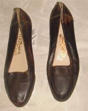 Ferragamo Sz 6 ~ Classic Loafer Style Textural Leather Flats / Shoes Made Italy