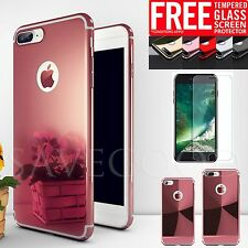Metal effect Mirror Ultra thin Hard Case +Tempered Glass Cover For iPhone 7 Plus