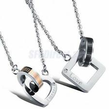 316L Stainless Steel Forever Love Heart Engagement Couple Lover Pendant Necklace