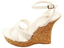 Tony Shoes W543-5 High Heel Cork Wedge Platform Ankle Strap Sandals White