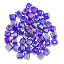50pcs 6mm Cube Square Faceted Rondelle Crystal Glass Loose Spacer Beads DIY