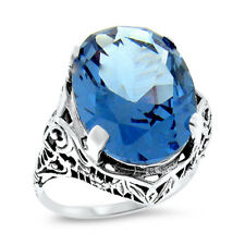 10 CT SIM LONDON BLUE TOPAZ 925 STERLING SILVER ANTIQUE STYLE FILIGREE RING,#974