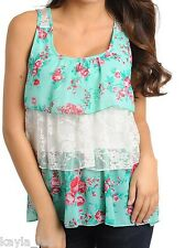 Aqua Floral/White Lace Back Tiered Ruffles Sleeveless Tank Top S