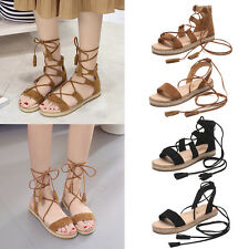 Women Ladies Tassel Lace Up Shoes Peep Open Toe Solid Sandals Ankle Strap Flats