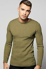 Boohoo Mens Knitted Crew Neck Jumper With Patch Pocket