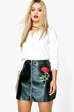 Boohoo Womens Plus Size Jessica PU Embroidered Mini Skirt