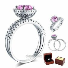 925 Sterling Silver Engagement Halo Ring Set 2 Carat Fancy Pink Lab Diamond