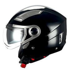 1STORM MOTORCYCLE OPEN FACE HELMET 3/4 HALF SCOOTER BIKE DUA​L LENS GLOSSY BLACK