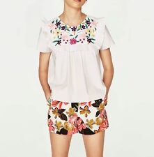 New Womens Short Sleeve Ruffled Detail Floral Embroidered Blouse Tops Shirt