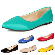 SSS lady Ballerinas Dolly Shoes Pointed Toe patent womens Ballet Flats Plus Size
