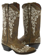 Women's Light Brown Abilene Leather Western Cowboy Boots Rhinestones Cowgirl