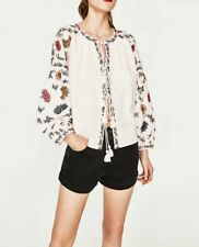 New Womens Floral Embroidered Long Sleeve Tassels Cardigan Blouse Tops Shirt