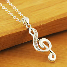 New Elegant Silver Plated Necklace Musical Note Pendant Necklace Chain Little